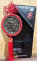 Подвеска - медальон из чая Пуэр ДРАКОН знак зодиака и китайский узел,фэн-шуй,подарок, сувенир, Китай