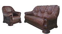 """Комплект классической кожаной мебели """"Grizly"""" (Гризли) (3р+1)"""