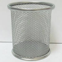 Подставка для ручек металлическая, стакан сетка, серебро