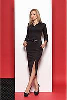 Платье футляр миди длины с рубашечным воротником и разрезом на юбке черное с горчичным