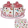Набор емкостей для сып. продуктов (4шт на мет подставке) 'Десерт' разм. 8Х8Х10,h-7см