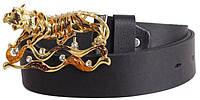 Женский кожаный ремень с пряжкой в виде тигра Dori blx90432 ДхШ: 130х4 см, черный