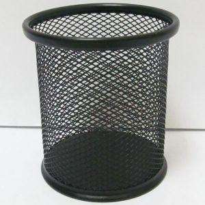 Подставка для ручек металлическая, стакан сетка, черный
