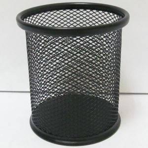 Подставка для ручек металлическая, стакан сетка, черный, фото 2