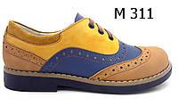 Туфли кожаные летние для девочки на шнуровке  ТМ FS collection. Размер 34
