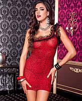 Асимметрическое красное леопардовое платьице