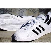 Мужские кеды Adidas Superstar 80s Primeknit (Адидас) чёрно-белые