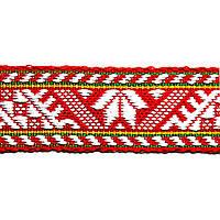 Лента тканная 2.5 см./3 цвета; красная основа 2