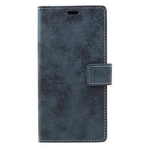 Чехол книжка для Samsung Galaxy A7 2017 A720 боковой с отсеком для визиток, Ретро стиль, темно-синий
