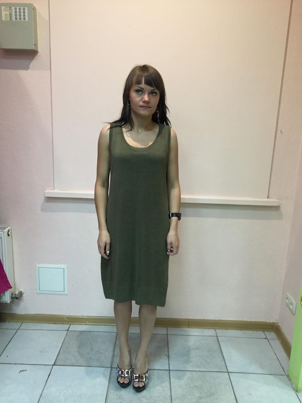 Платье женское туника сарафан без рукава болотный цвет Massimo Dutti