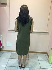Платье женское туника сарафан без рукава болотный цвет Massimo Dutti, фото 3