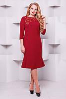 Женское  Оригинальное платье с перфорацией Анюта красное  (52-58)
