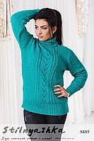 Вязанный свитер большого размера Елка бирюза, фото 1