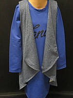 Трикотажне плаття з накидкою для дівчаток., фото 1