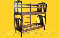 Кровать детская 2х ярусная из натурального дерева Тис