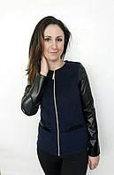 Стильный пиджак с рукавами с эко кожи