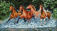 Вышивка крестиком Дикие лошади 63х38 см (арт. MK022)