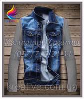 Джинсовая куртка с рукавами из флиса с вашим логотипом (под заказ от 50 шт), фото 1