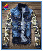 Джинсовая куртка с рукавами из камуфлированного флиса с вашим логотипом (под заказ от 30-50 шт)