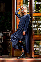Платье синее в стиле оверсайз