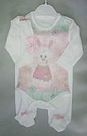 Детский костюм с боди и повязкой для новорожденных девочек, 56, 62, Турция, оптом