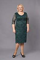 Зеленое приталенное гипюровое платье Донна
