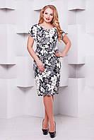 Женское Летнее платье большого размера Кора черно-белое 1077 (52-58)