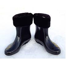 Сапоги короткие резиновые (ботики) VR женские утепленные меховая вставка Силикон+ПВХ черный глянец, фото 3