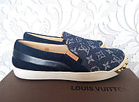 Мокасины, слипоны Louis Vuitton, кожа, Италия, синего, голубого цвета, с разноцветные, Prada, Gucci, Chanel, V