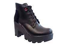 Модные женские черные демисезонные ботинки, тракторная подошва