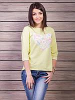 Кофта женская с принтом Сердце p.42-48 цвет желтый VM1860-3