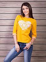 Кофта женская с принтом Сердце p.42-48 цвет горчица VM1860-4