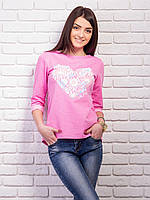 Кофта женская с принтом Сердце p.42-48 цвет розовый VM1860-5