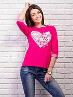 Кофта женская с принтом Сердце p.42-48 цвет малиновый VM1860-6