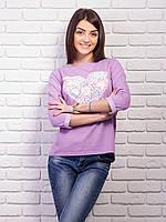 Кофта женская с принтом Сердце p.42-48 цвет сиреневый VM1860-7