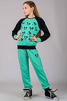 033048 - Детский трикотажный костюм для девочек Микки (мята)