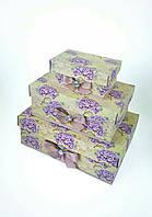 Прямоугольный подарочный комплект коробок ручной работы нежного жёлтого цвета с цветками гортензии