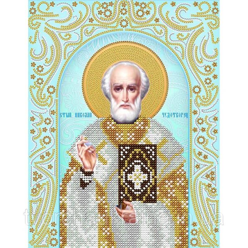 Схема на ткани для вышивания бисером Св. Николай Чудотворец (серебро)