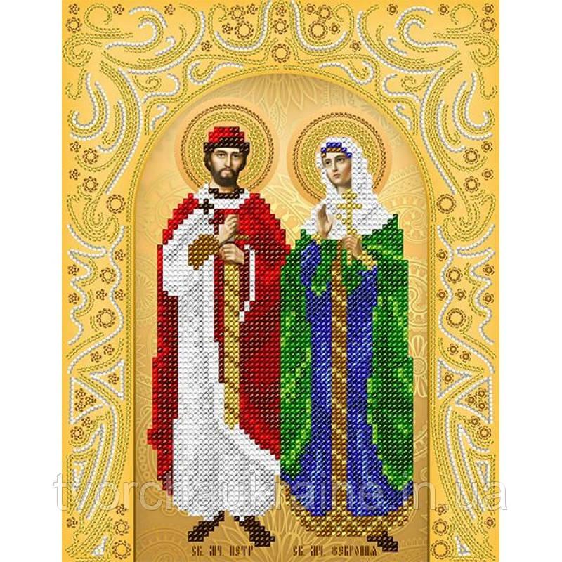Схема на ткани для вышивания бисером Святые Пётр и Феврония (золото)