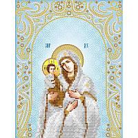Схема на ткани для вышивания бисером Икона пресвятой Богородицы «Троеручица» (серебро)