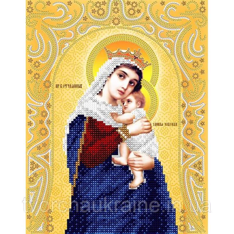 Схема на ткани для вышивания бисером Пресвятая Богородица «Отчаянных единая надежда» (золото)