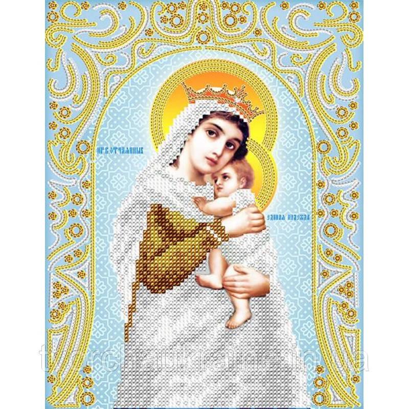 Схема на ткани для вышивания бисером Пресвятая Богородица «Отчаянных единая надежда» (серебро)