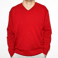Мужской пуловер с V-образным вырезом, красный