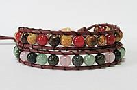 Браслет. 2 оборота. Натуральный камни. Яшма, розовый кварц, нефрит, змеевик, сердолик. Натуральная кожа