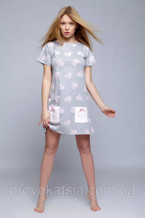 Серая ночная рубашка в розовых сердечках Koszula Isidora Sensis