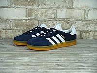 Кроссовки в стиле Adidas Gazelle Indoor Gum Blue/White мужские