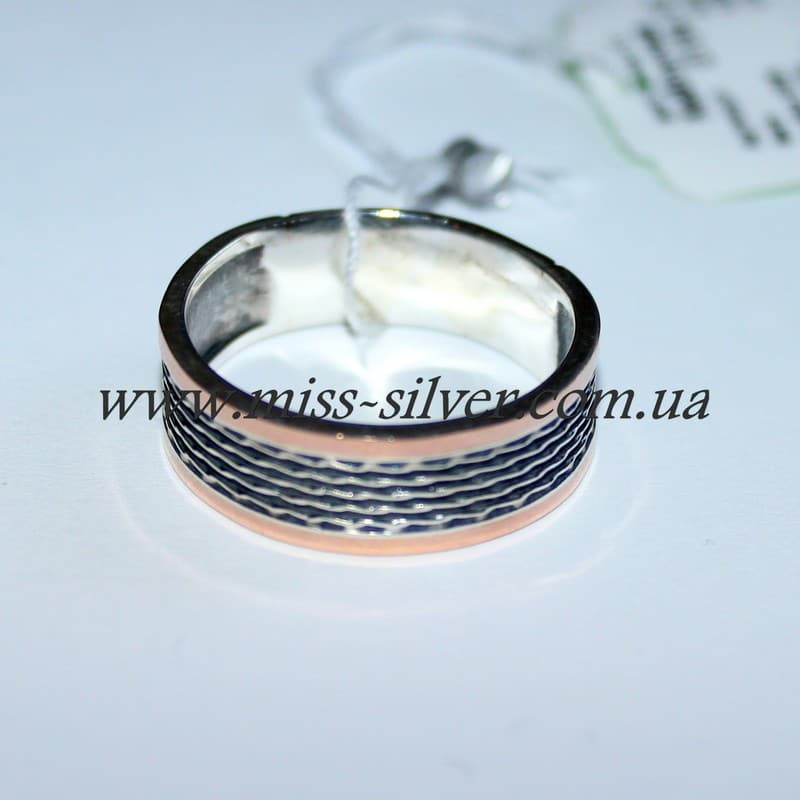 Обручальное кольцо серебро с золотом Океан