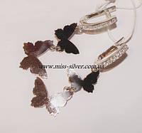 Серьги серебряные с золотом Бабочки