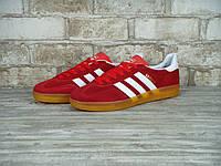 Кроссовки в стиле Adidas Gazelle Indoor Gum Red/White мужские
