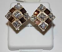 Серьги ромбы из серебра Камила, фото 1